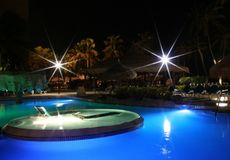 Tropical Blue Pool with Stars. Blue pool with stars and palms, at an Arurba Island Resort, Caribbean Stock Image