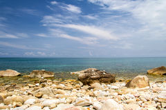 Tropical blue sea and blue sky in vacation summer beautiful day. Beautiful tropical sea and blue sky in vacation summer day at Koh Phangan thailand stock images
