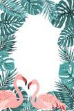Tropical border frame turquoise leaves flamingo Royalty Free Stock Photo