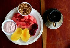 Tropical breakfast. With fruits and coffee stock image