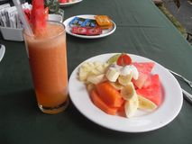 Tropical breakfast with fresh fruit and juice stock image