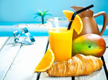 Tropical breakfast still life Stock Photo