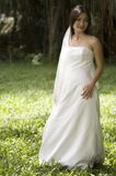 Tropical Bride 2. A beautiful young asian woman in her wedding dress in a tropical setting Stock Photo