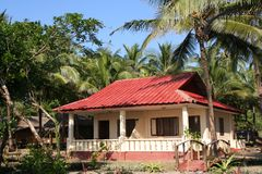 Tropical bungalow. On Ngwe Saung Beach in Myanmar Royalty Free Stock Photos