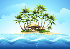 Tropical bungalow bar with palm Stock Photo