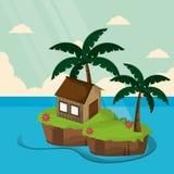 Tropical bungalow island tree palm Stock Photo