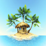 Tropical bungalow on tropical island Stock Photo