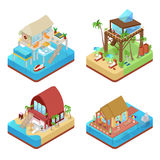 Tropical Bungalows with Palm Trees. Beach Real Estate. Isometric flat 3d illustration Stock Image