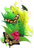 Tropical Butterflies in colors on a white background. (Vector) Stock Photography