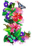 Tropical Butterflies in colors on a white background. (Vector) Royalty Free Stock Images