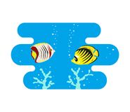 Tropical butterfly fishes on blue background. royalty free illustration