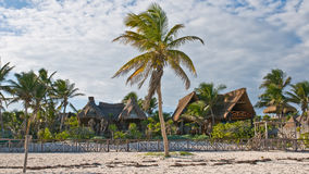 Tropical cabanas. Cabanas at the tropical beach of Tulum, Mexico Stock Photos