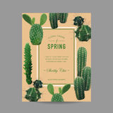 Tropical Cactus Summer Background. Exotic Graphic Card Design Stock Photography