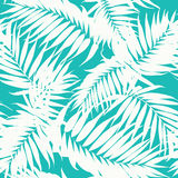 Tropical camouflage pattern jungle tree leaves. Tropical khaki camouflage seamless background texture. White jungle tree leaves on turquoise blue backdrop Stock Photography