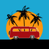 Tropical Camper Van Background Royalty Free Stock Photos
