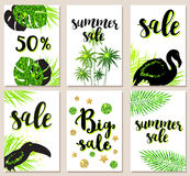 Tropical cards for seasonal sale Royalty Free Stock Images