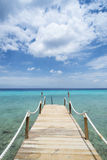 Tropical Caribean beach pier Curacao Stock Photos