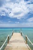 Tropical Caribean beach pier Curacao. Pier at Tropical beach (Kokomo beach) at Vaersenbaai Curacao Stock Photos