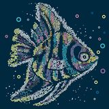 Tropical cartoon cute marine pied fish on blue background. Mosaic Royalty Free Stock Images