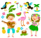 Tropical cartoon set Stock Photos