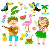 Tropical cartoon set vector illustration