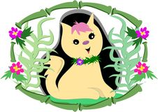 Tropical Cat in Bamboo and Flower Frame Royalty Free Stock Photography