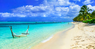 Tropical chilling out - hammock in turquoise water. Mauritius is Royalty Free Stock Photography