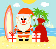Tropical Christmas background with Santa Claus Royalty Free Stock Images