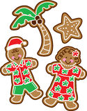 Tropical Christmas Cookies. Vector Illustration of tropical gingerbread Christmas cookies (Hawaiian style vector illustration