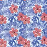 Tropical winter red hibiscus cold blue palm leaves seamless with royalty free illustration