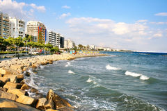 Tropical city beach. Public beach in Limassol, Cyprus Royalty Free Stock Photos
