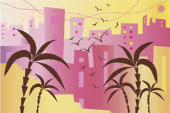 Tropical city with buildings and palms.  Stock Image