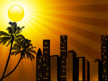 Tropical city sunset with palm tree Stock Images