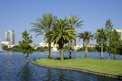 Tropical Cityscape. Shot in downtown Orlando Florida at Lake Eola Stock Photography