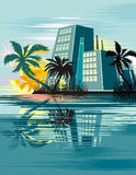 Tropical cityscape background Royalty Free Stock Image