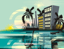 Tropical Cityscape Background Royalty Free Stock Photography
