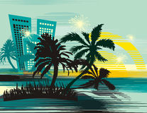 Tropical cityscape background Royalty Free Stock Images