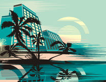 Tropical cityscape background Stock Images