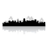 Tropical cityscape silhouette Stock Image