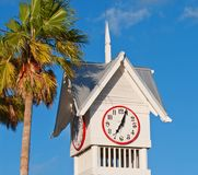 Tropical Clock Tower Stock Photo