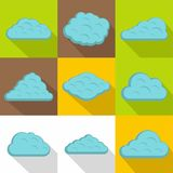 Tropical cloud icon set, flat style Royalty Free Stock Images