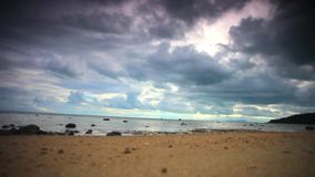 Tropical cloudy day on the beach in Koh Samui. Tropical cloudy day on the beach in Koh Samui Thailand. Blurred background stock footage