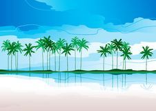 Tropical coast. Vector Horizontal landscape with tropical coast and row of palms royalty free illustration