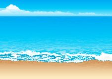 Tropical coast. Vector background of coast, sea and sky Stock Photography