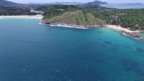 Tropical coast and small island, from a radio-controlled aircraft stock video footage