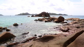 Tropical coast of St. Pierre, Seychelles stock video footage