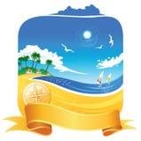 Tropical Coastline. Palms, birds, windsurf at the background royalty free illustration