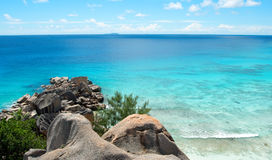 Tropical coastline with boulders Stock Photo