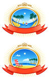 Tropical Coastline Emblems. Tropical Coastline, Palms, clouds in the sky Stock Photos