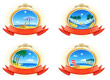 Tropical Coastline Emblems. Tropical coastline, palms, beach, clouds in the sky stock illustration
